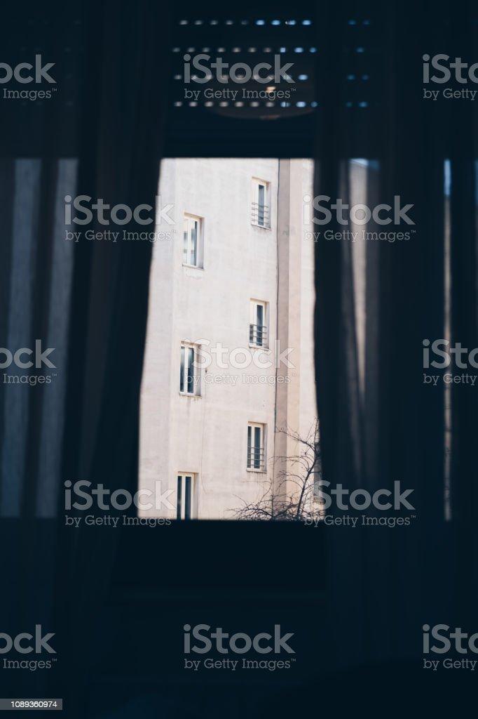 facade view from interior room - phobia solitude depression concept