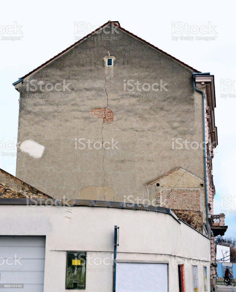 facade with crack stock photo