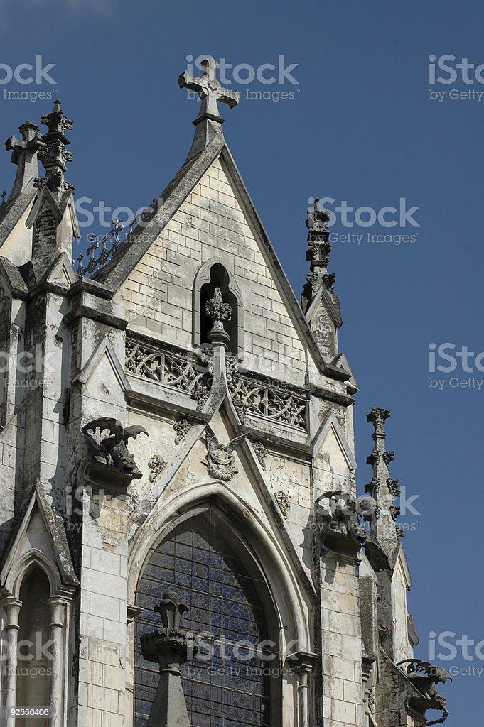 facade with gargoyles of La Basilica del Voto Nacional, Quito royalty-free stock photo