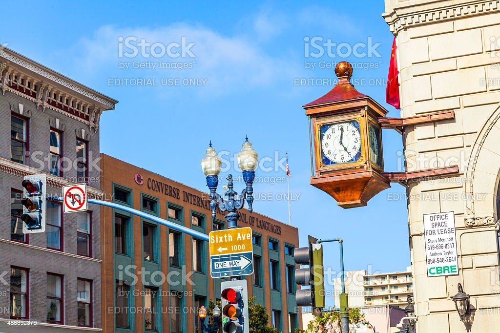 facade with old clock in the gaslamp quarter San Diego stock photo