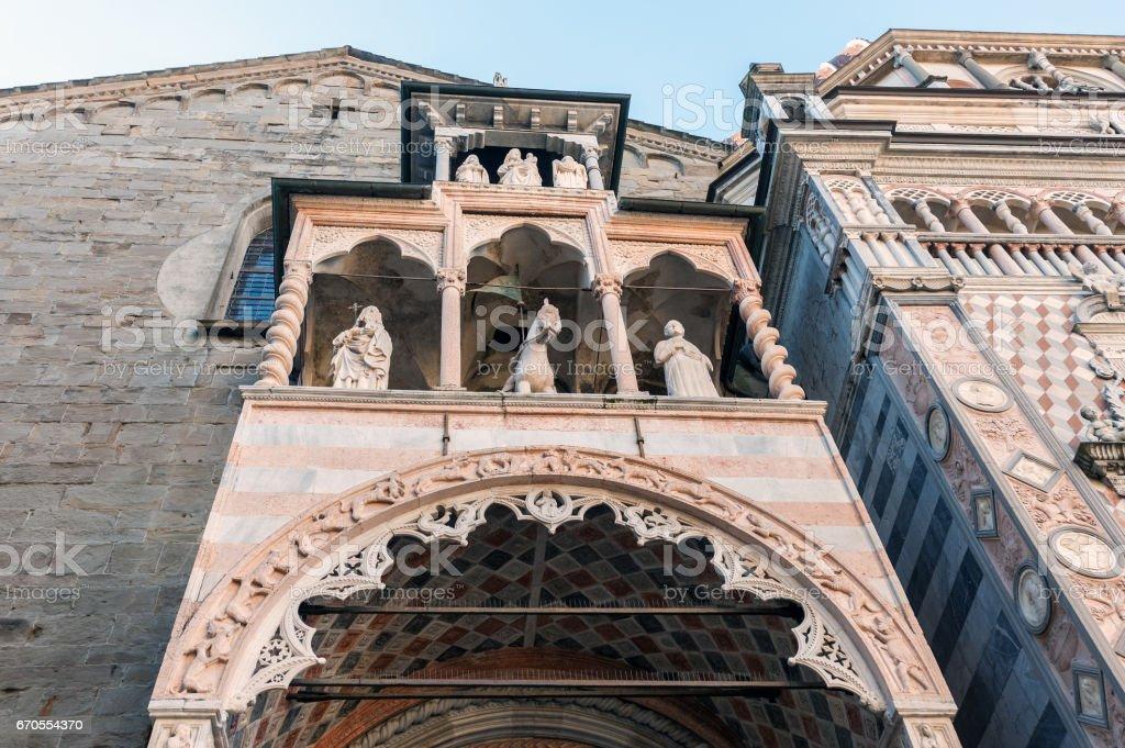 Facade with statues at Basilica di Santa Maria Maggiore, Italy stock photo