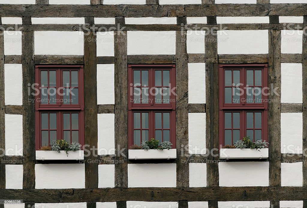 Facade with windows in Half-timbered house (XL) royalty-free stock photo