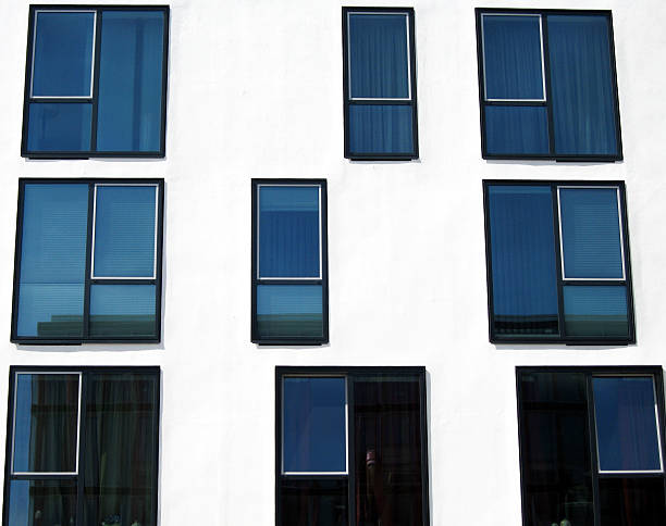 facade with windows facade of an office building right angle stock pictures, royalty-free photos & images