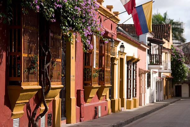 Facades and Balconies in Cartagena stock photo