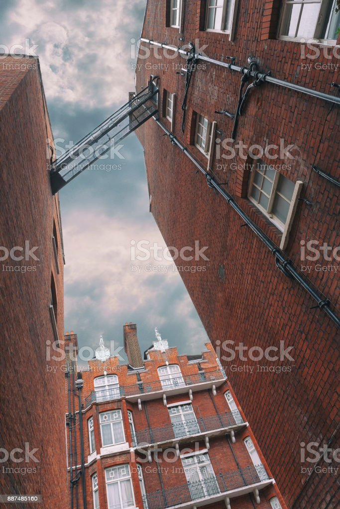 Facades of brick houses in London stock photo