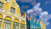 Willemstad, Curacao, February 20th.2020: View Looking up at the Facade of a Row of Buildings.