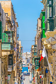 Facades of historical houses in the old town of Valletta, Malta