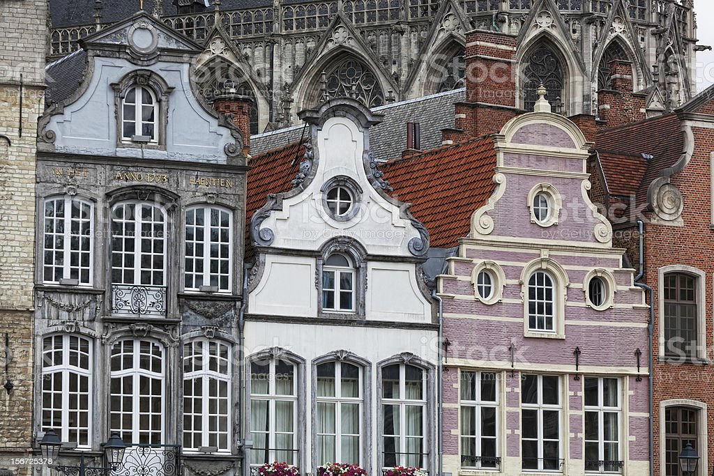 Facades of medieval houses in Mechelen city royalty-free stock photo