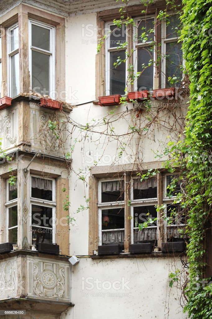 Facades of old buildings in Europe royalty-free stock photo