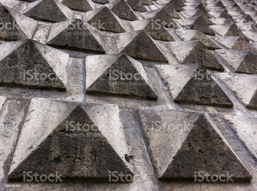 Facades of old buildings in Naples, Italy stock photo