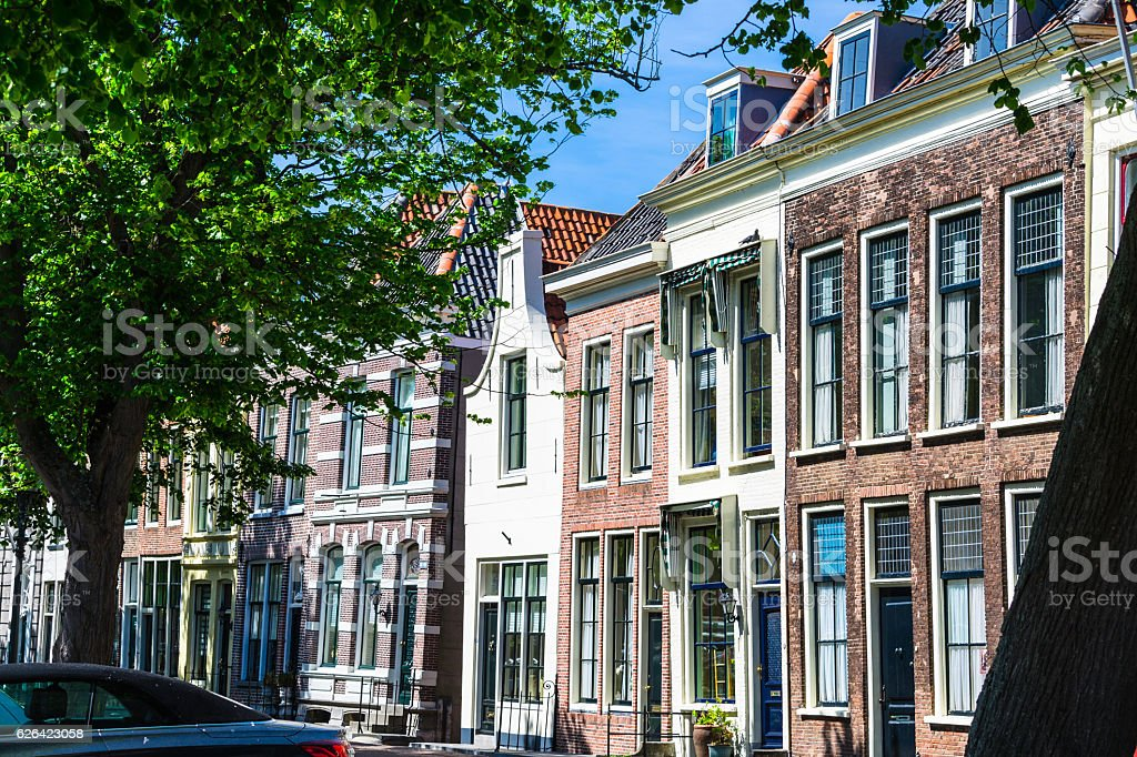 Facades of old houses in Holland stock photo