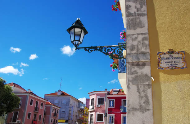facades of setubal, portugal - setubal imagens e fotografias de stock