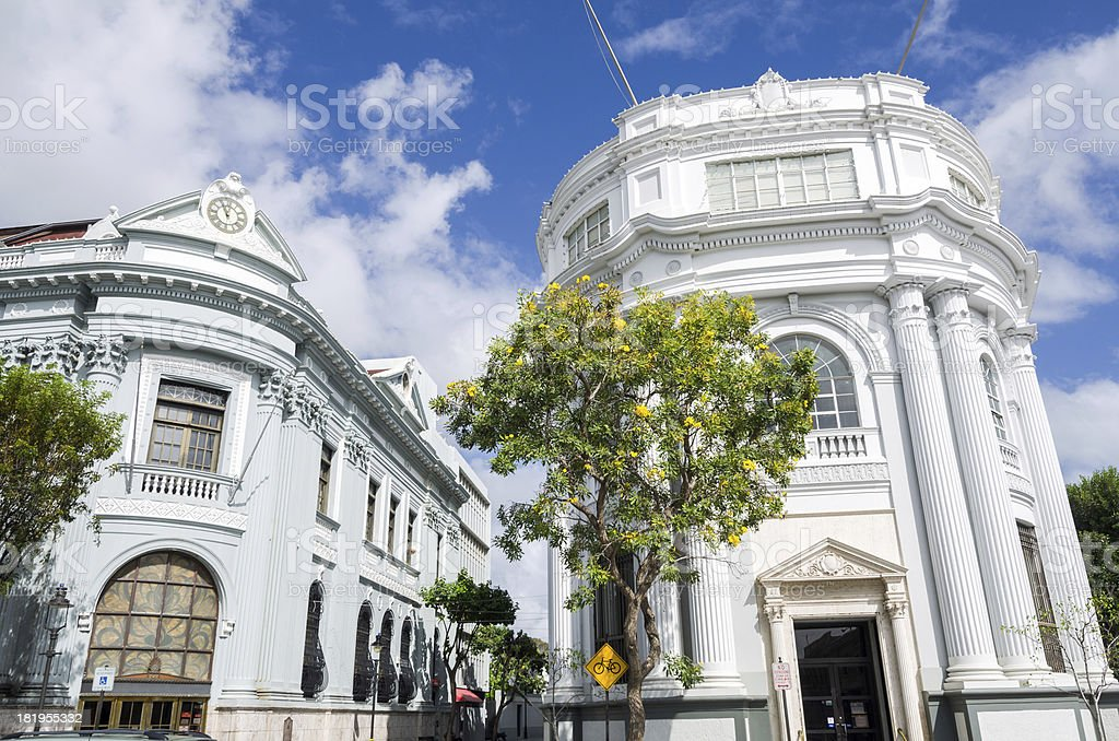 Facades of two bank buildings in Ponce, Puerto Rico stock photo