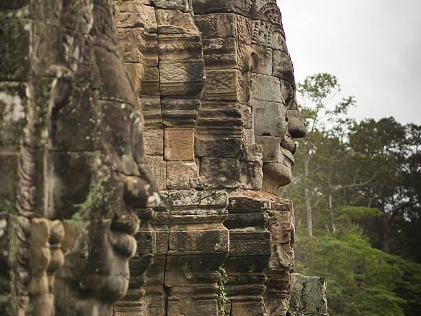 Face ancient stone stock photo