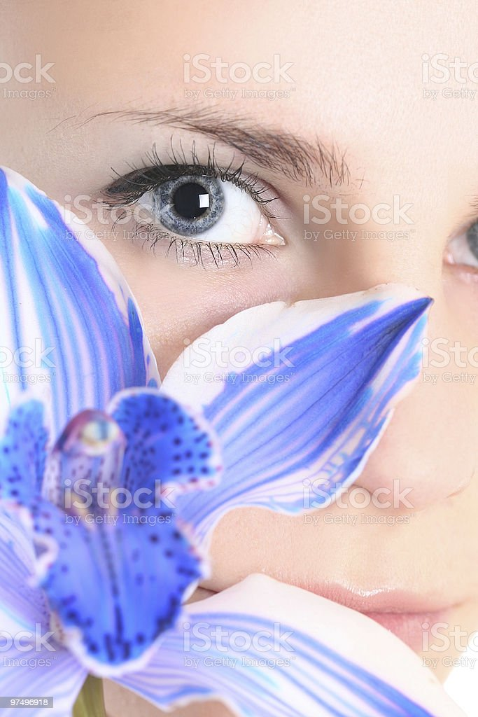 face and flower royalty-free stock photo