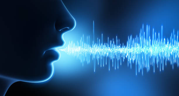 Face and sound waves stock photo