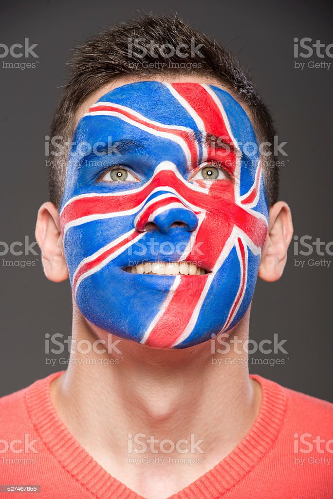 Face art. Flags. stock photo
