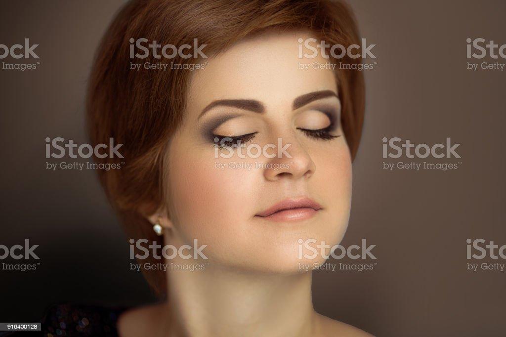 face beautiful woman make up stock photo