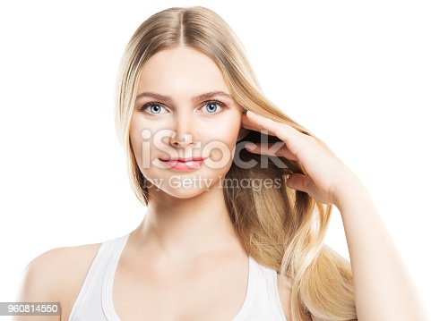 Face Beauty Hair and Skin Care, Fashion Model Blonde Hair and Natural Makeup, Woman Isolated over White Background