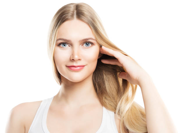 Face Beauty Hair and Skin Care, Fashion Model Blonde Hair and Natural Makeup, Woman White Isolated Face Beauty Hair and Skin Care, Fashion Model Blonde Hair and Natural Makeup, Woman Isolated over White Background straight hair stock pictures, royalty-free photos & images