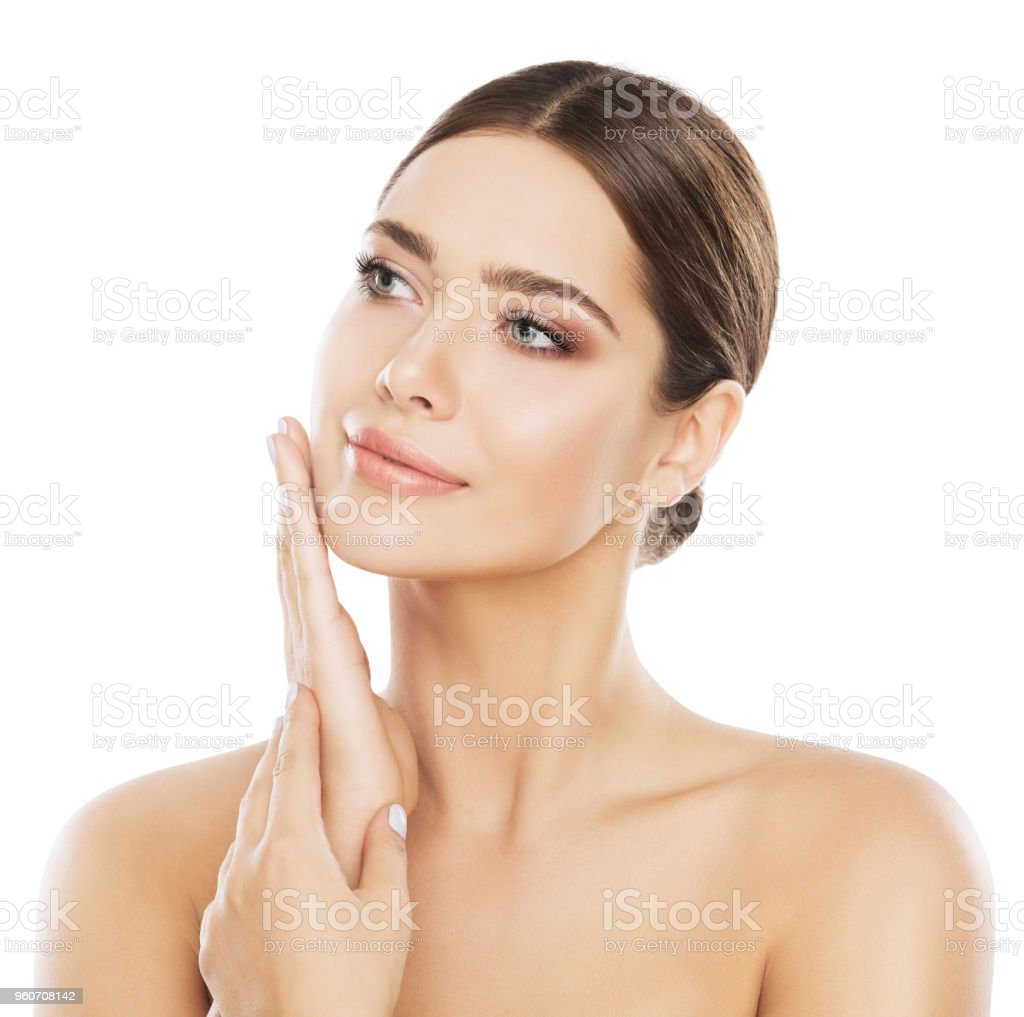 Face Beauty Skin Care, Woman Natural Make Up, Girl Touch Cheek by Hand, Skincare White Isolated stock photo