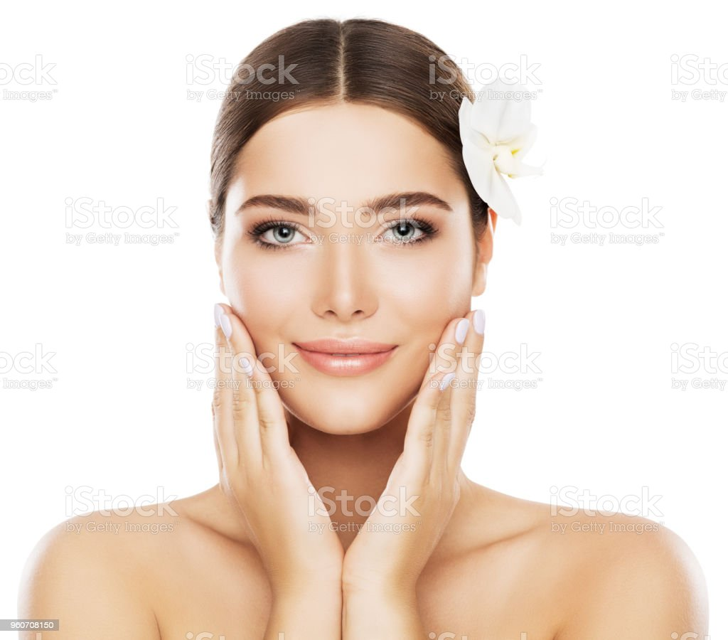 Face Beauty Skin Care Woman Natural Make Up Model Touch Cheeks By