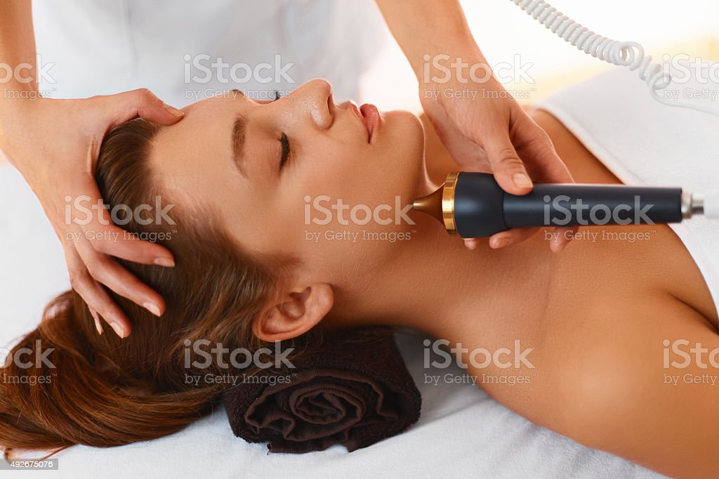 Face Care. Ultrasound Cavitation Face Treatment in Medical Spa stock photo