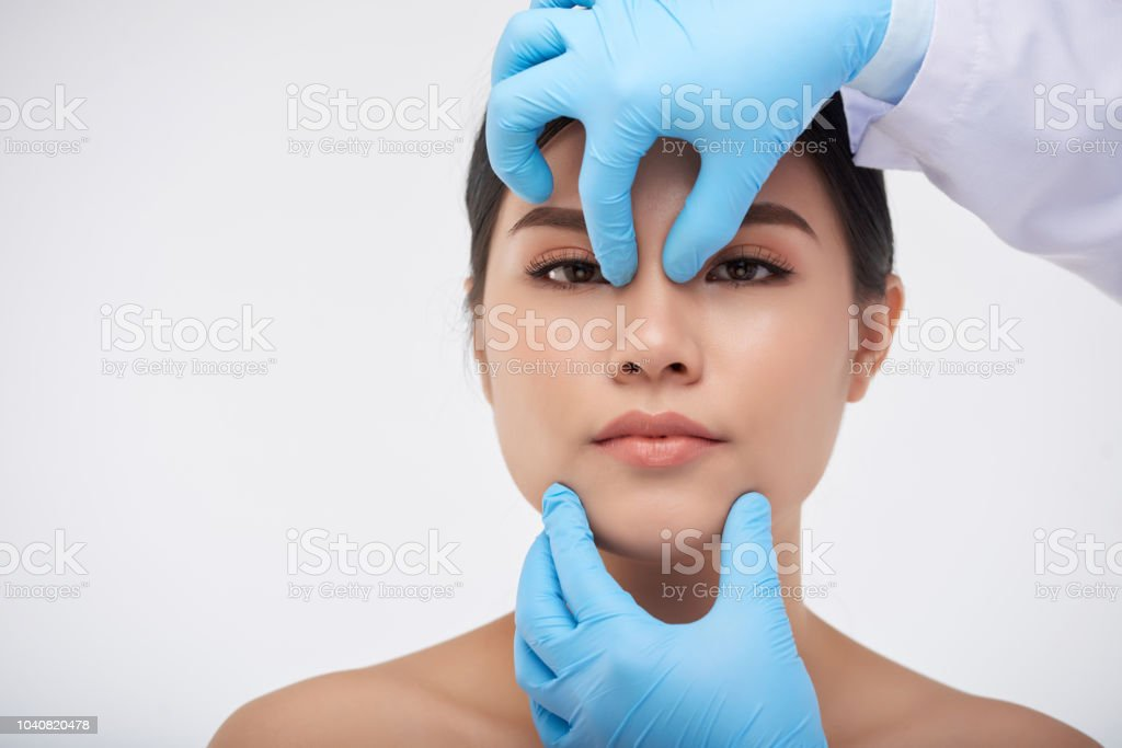 Face check before surgery stock photo
