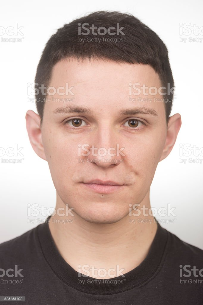 Face close up portrait , like mug shot. stock photo