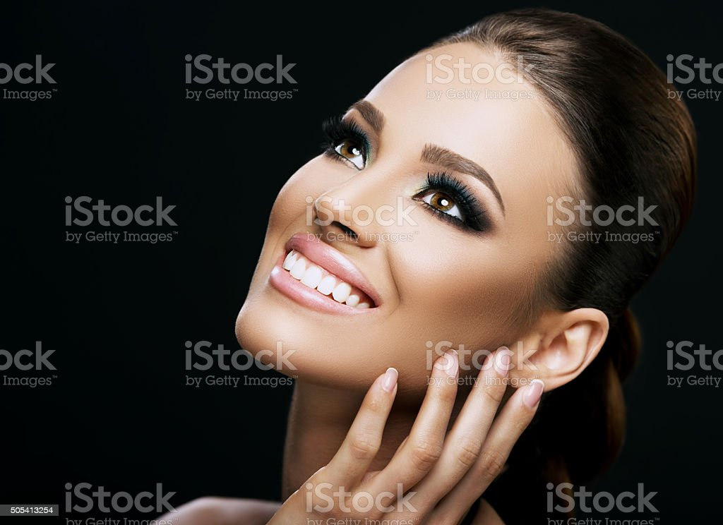 Face close-up of a beautiful young woman isolated stock photo