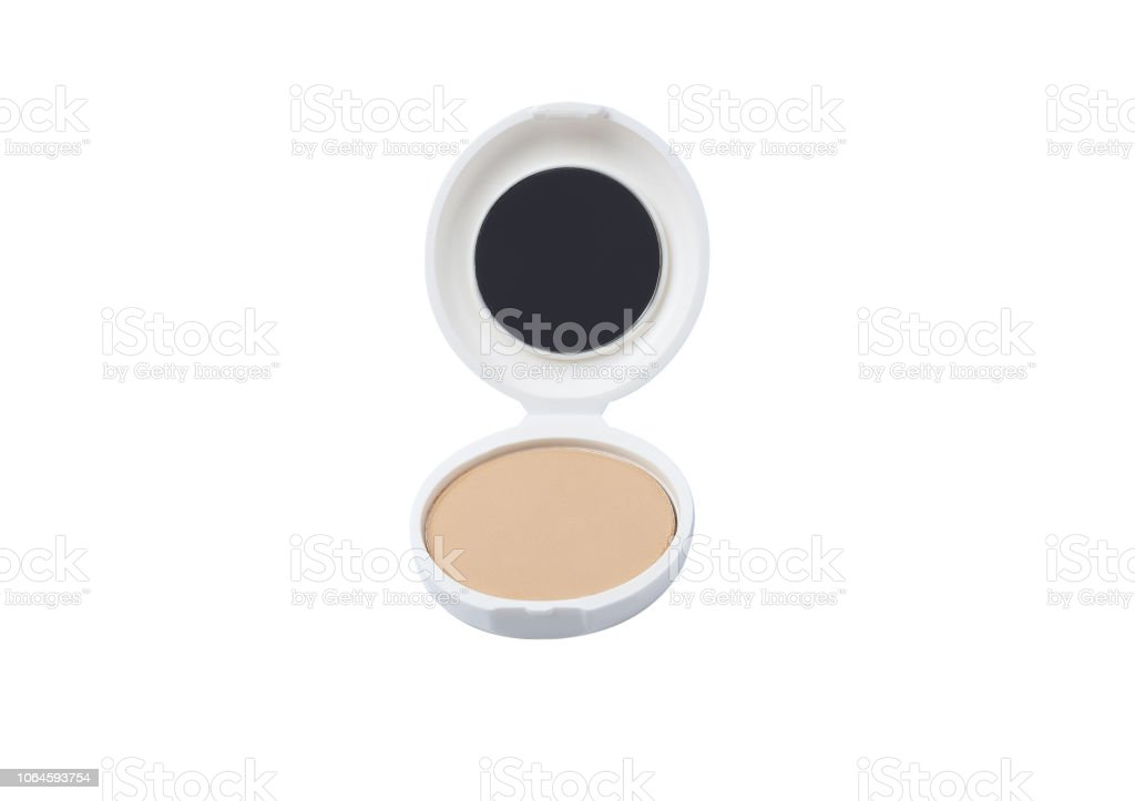 b05be863765f Face Cosmetic Makeup Powder In White Round Plastic Case Isolated On ...