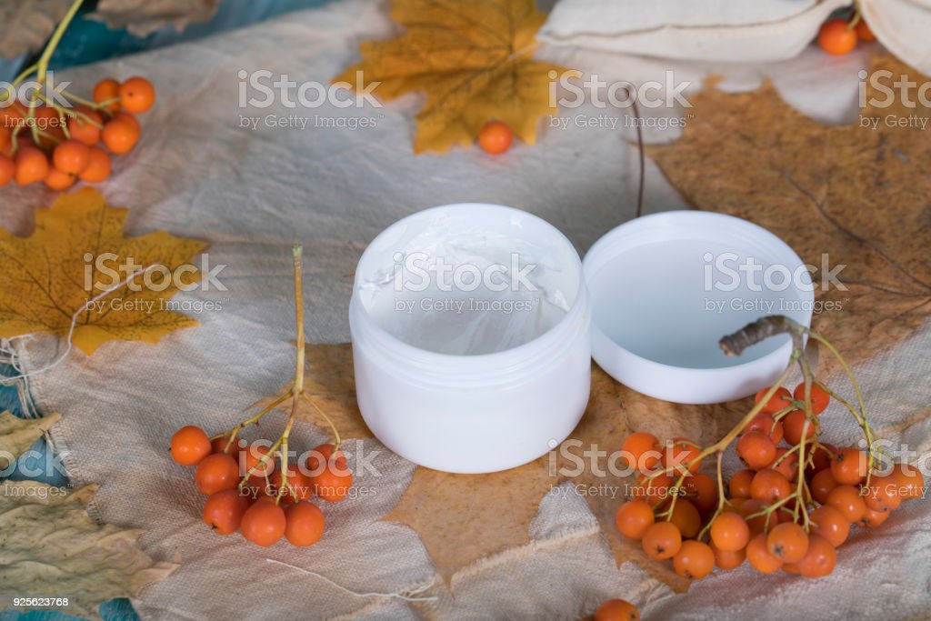Face cream with rowan berries extract. stock photo