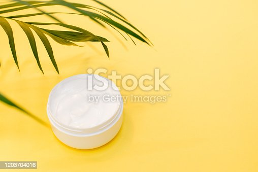 istock Face cream with spring greenery on yellow background with a copy space 1203704016