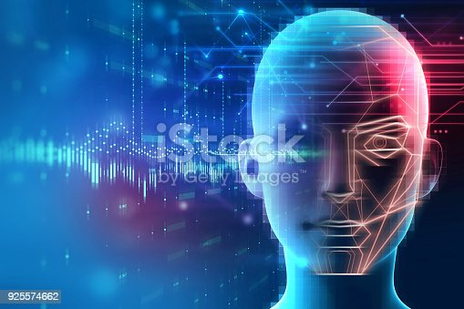 istock Face detection and recognition of digital human 3d illustration. 925574662