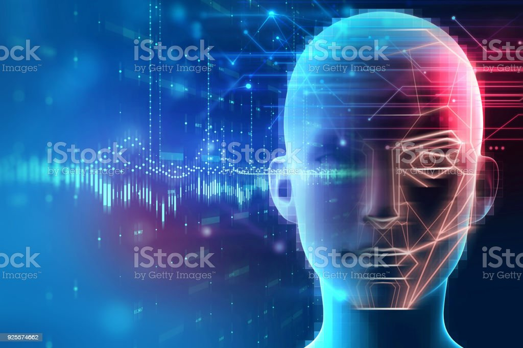 Face detection and recognition of digital human 3d illustration. stock photo