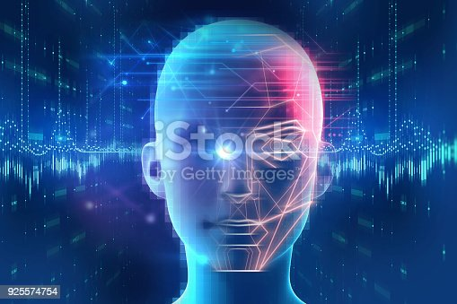 1021681352 istock photo Face detection and recognition of digital human 3d illustration. 925574754