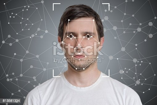 istock Face detection and recognition of man. Computer vision and artificial intelligence concept. 813581334