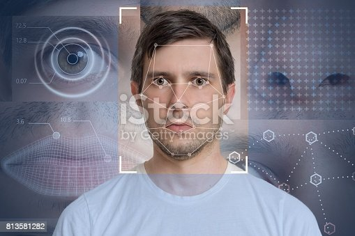 istock Face detection and recognition of man. Computer vision and machine learning concept. 813581282