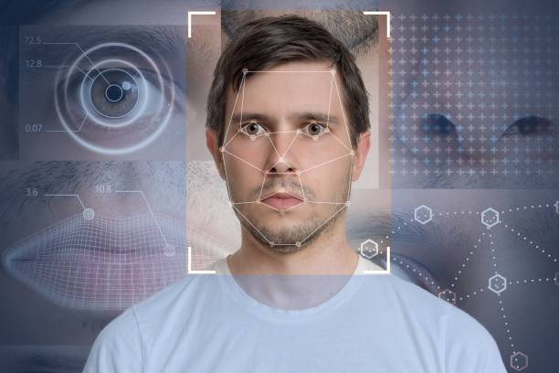 face detection and recognition of man. computer vision and machine learning concept. - medical scan stock photos and pictures