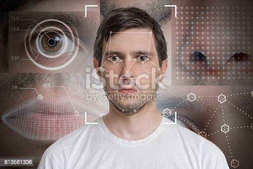 istock Face detection and recognition of man. Computer vision and machine learning concept. 813581306