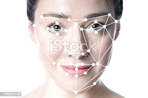 face detection or facial recognition grid overlay on face of young beautiful woman - artificial intelligence or identity or technology concept