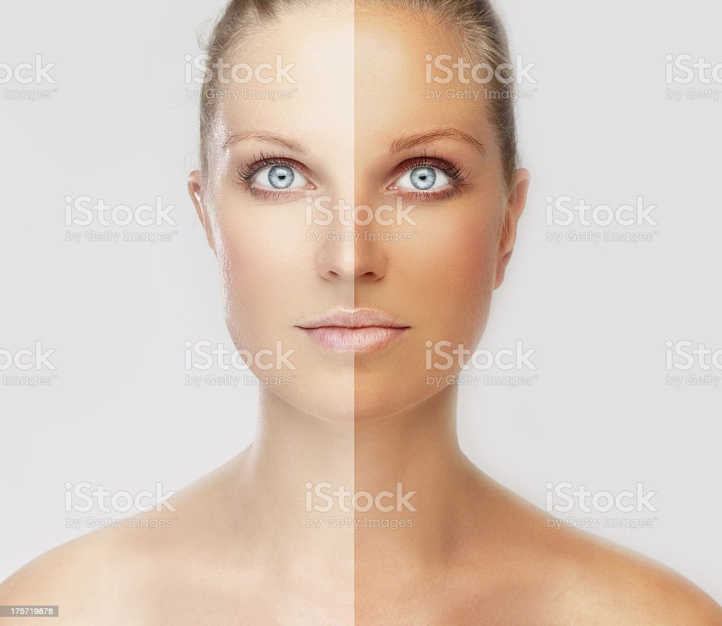 Face divided in two parts - tanned  and natural stock photo