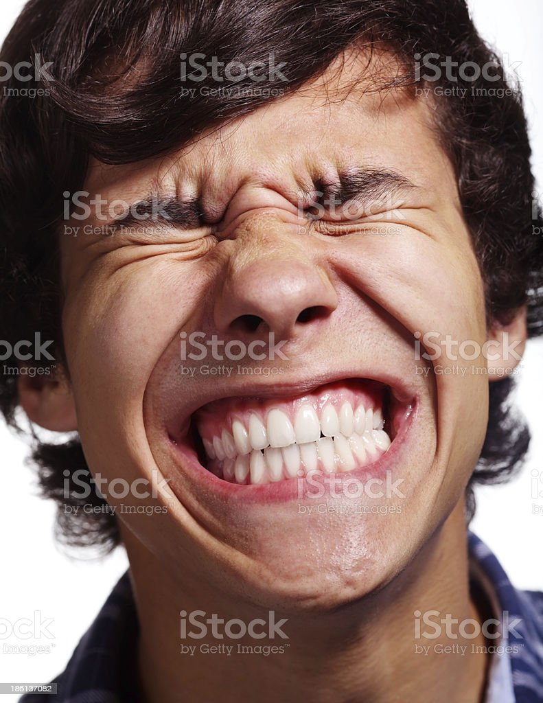 Face full of pain stock photo