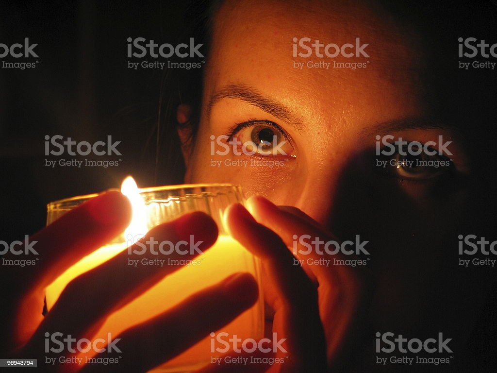 face in candlelight royalty-free stock photo