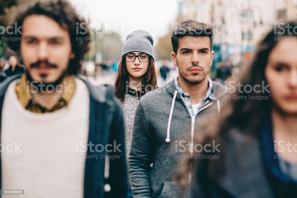 Face in the crowd stock photo