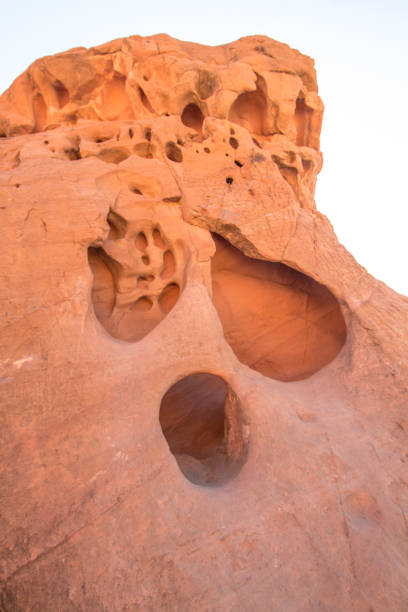 Face In The Rock From Wind Erosion At Valley Of Fire In Nevada stock photo