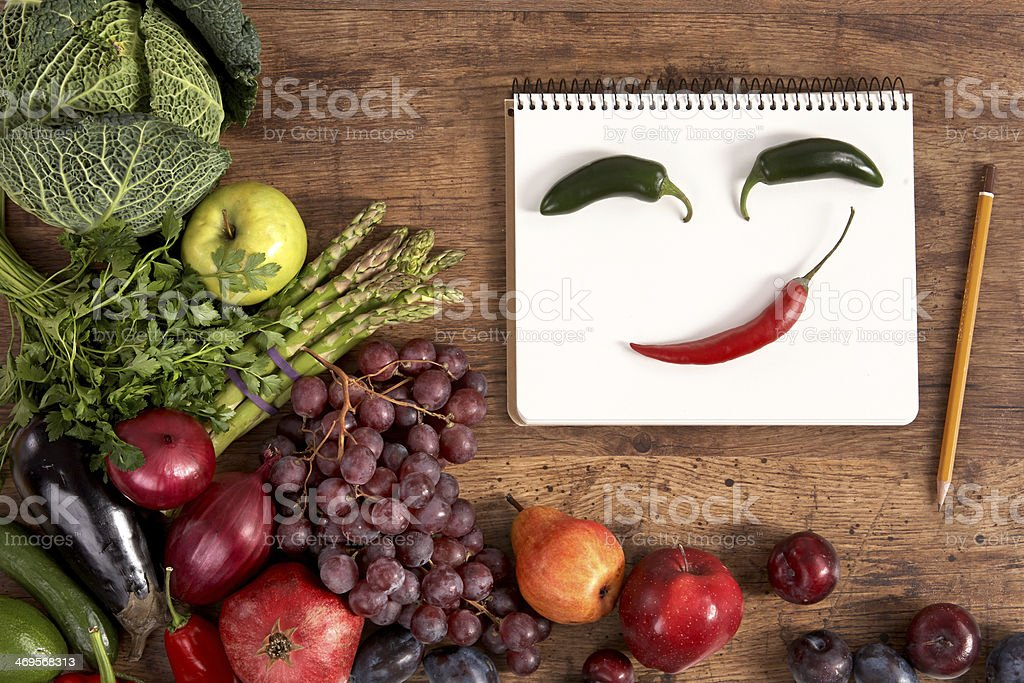 Face made of peppers royalty-free stock photo