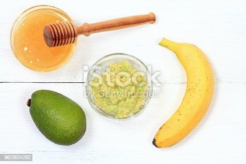 istock Face mask from avocado, yogurt, banana  and honey 962804292
