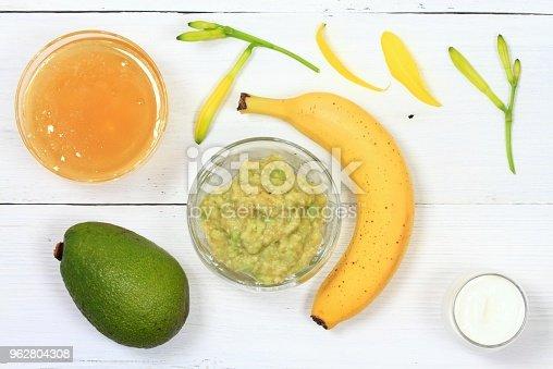 istock Face mask from avocado, yogurt, banana  and honey 962804308
