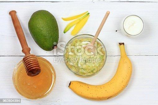 istock Face mask from avocado, yogurt, banana  and honey 962804394